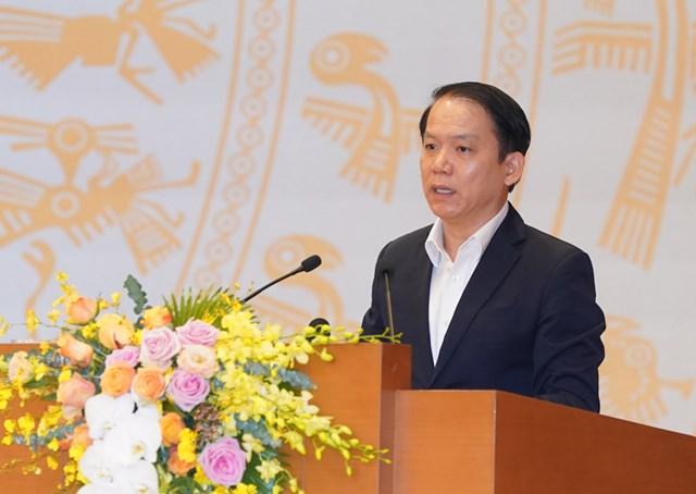 Chủ nhiệm Ủy ban Pháp luật của Quốc hội Hoàng Thanh Tùng phát biểu. Ảnh: Quang Hiếu.