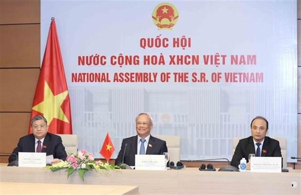 Phó Chủ tịch Quốc hội Uông Chu Lưu dự hội nghị trực tuyến. (Ảnh: Phương Hoa/TTXVN).
