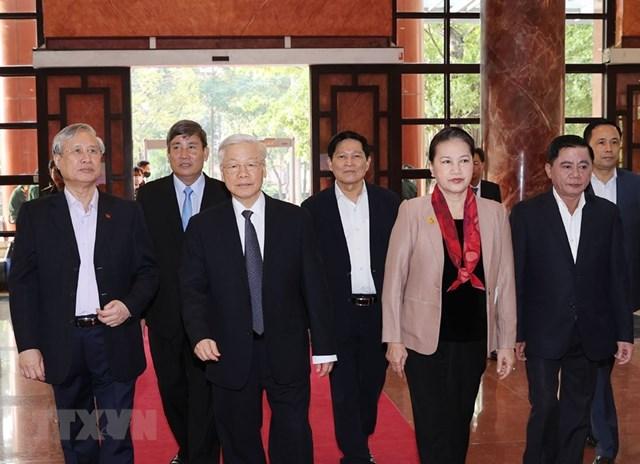 Tổng Bí thư, Chủ tịch nước Nguyễn Phú Trọng đến dự Hội nghị. Ảnh:Trí Dũng/TTXVN.