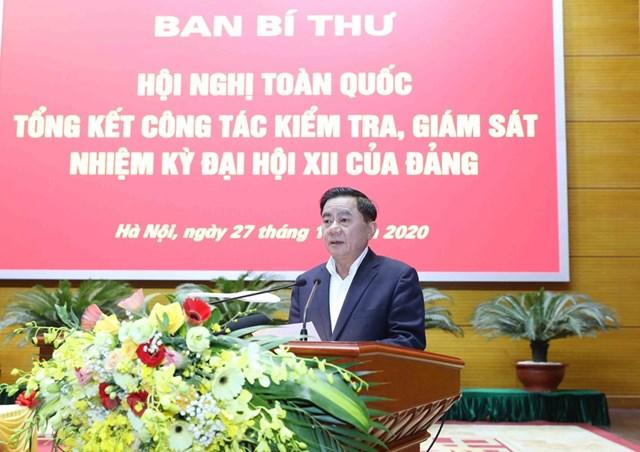 Ông Trần Cẩm Tú, Bí thư Trung ương Đảng, Chủ nhiệm Uỷ ban Kiểm tra Trung ương phát biểu tại hội nghị. Ảnh: Phương Hoa/TTXVN.