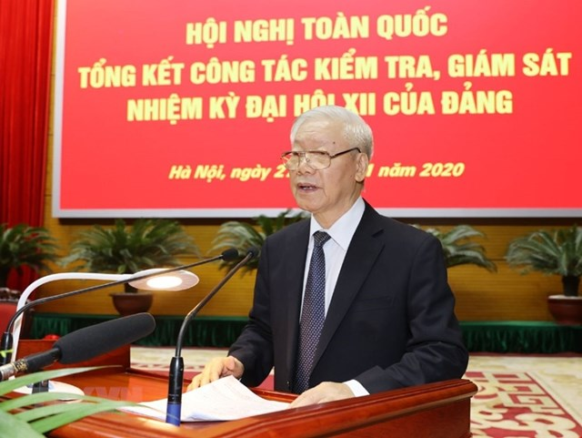 Tổng Bí thư, Chủ tịch nước Nguyễn Phú Trọng phát biểu chỉ đạo Hội nghị. Ảnh:Trí Dũng/TTXVN.