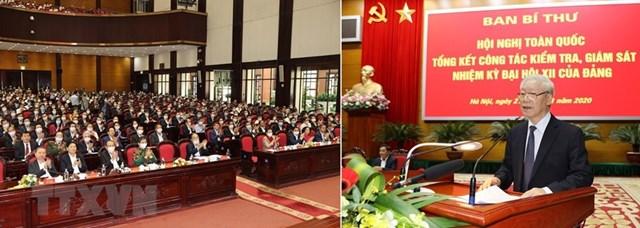 Tổng Bí thư, Chủ tịch nước Nguyễn Phú Trọng phát biểu chỉ đạo Hội nghị.(Ảnh: Trí Dũng/TTXVN).