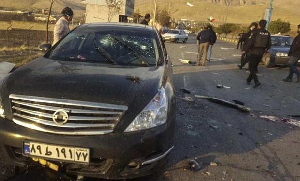 Hiện trường vụ tấn công nhà khoa học hạt nhân Mohsen Fakhrizadeh. (Nguồn: AP).