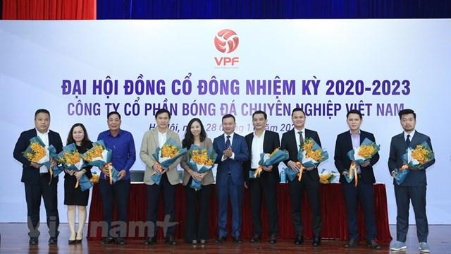 Hình ảnh Đại hội đồng cổ đông nhiệm kỳ 2020-2023 của Công ty cổ phần Bóng đá chuyên nghiệp Việt Nam sáng 28/11. (Ảnh: Đức Cường/Vietnam+).