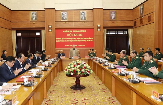 Tổng Bí thư, Chủ tịch nước Nguyễn Phú Trọng, Bí thư Quân ủy Trung ương phát biểu kết luận Hội nghị. (Ảnh: Trí Dũng/TTXVN).