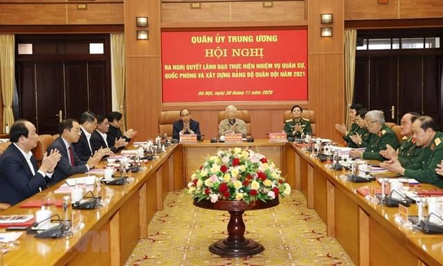 Tổng Bí thư, Chủ tịch nước Nguyễn Phú Trọng, Bí thư Quân ủy Trung ương chủ trì Hội nghị. (Ảnh: Trí Dũng/TTXVN).