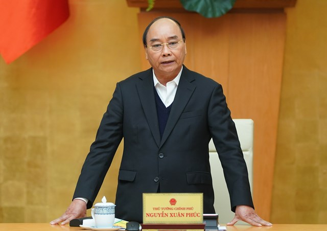 Thủ tướng Nguyễn Xuân Phúc: Tạm dừng các chuyến bay thương mại. Ảnh VGP/Quang Hiếu.