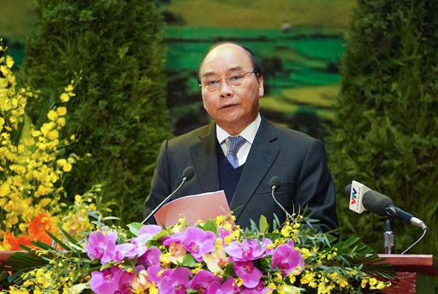 Thủ tướng Chính phủ Nguyễn Xuân Phúc phát biểu tại Đại hội. Ảnh: VGP.