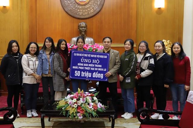 Tiếp nhận ủng hộ từ Câu lạc bộ văn hóa Võ thuật Việt Nam Học viện Ngoại giao.