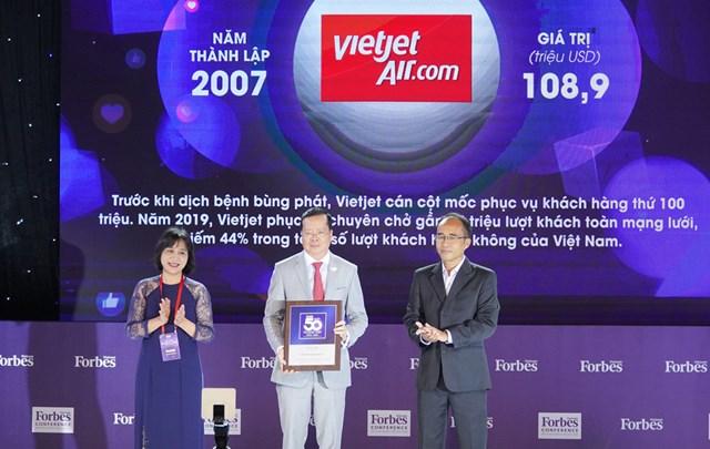 Thành viên HĐQT Chu Việt Cường đại diện Vietjet nhận vinh danh Top 50 Thương hiệu Việt Nam Dẫn đầu 2020.