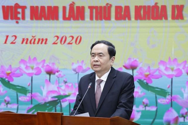 Chủ tịch Trần Thanh Mẫn phát biểu kết luận Hội nghị. Ảnh: Quang Vinh.