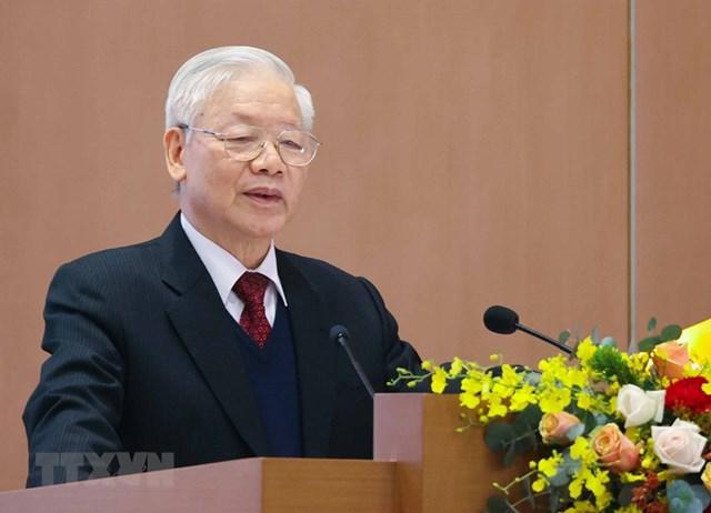 Tổng Bí thư, Chủ tịch nước Nguyễn Phú Trọng phát biểu. (Ảnh: Thống Nhất/TTXVN).