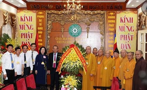 Phó Thủ tướng Thường trực Trương Hòa Bình thăm, chúc mừng Giáo hội Phật giáo Việt Nam - 1