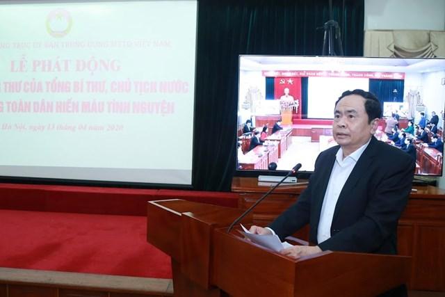 UBTƯ MTTQ Việt Nam phát động toàn dân hiến máu tình nguyện