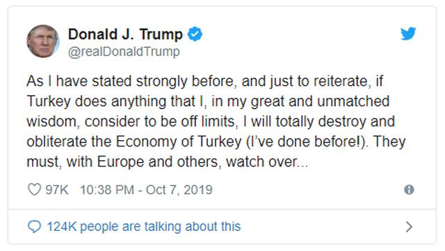 Ông Trump dọa 'hủy diệt, xóa sổ' kinh tế Thổ Nhĩ Kỳ - 1