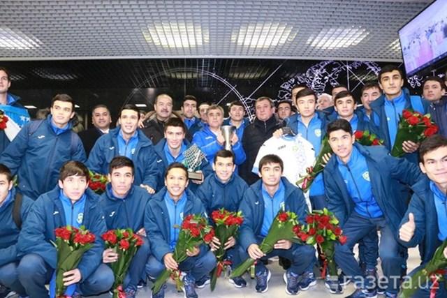 Uzbekistan ăn mừng chức vô địch châu Á của các cầu thủ U23