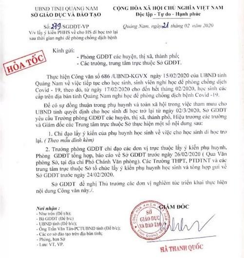 Quảng Nam: Sở GD-ĐT lấy ý kiến phụ huynh cho học sinh đi học trở lại - 1