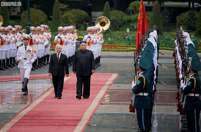 [ẢNH] Tổng Bí thư, Chủ tịch nước Nguyễn Phú Trọng đón, hội đàm với Chủ tịch Kim Jong-un - 5