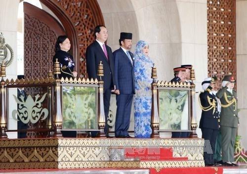 Chủ tịch nước Trần Đại Quang hội kiến, hội đàm với Quốc vương Brunei