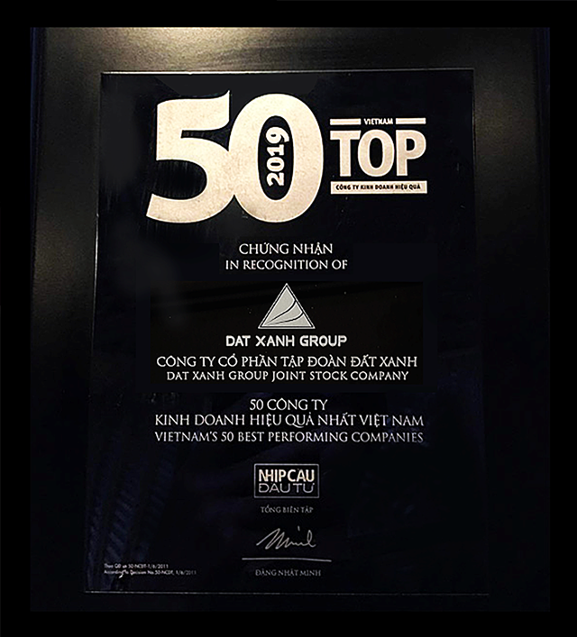 Đất Xanh xuất sắc đứng đầu top doanh nghiệp bất động sản kinh doanh hiệu quả nhất năm 2018 - 2