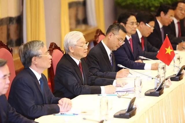 [ẢNH] Tổng Bí thư, Chủ tịch nước Nguyễn Phú Trọng đón, hội đàm với Chủ tịch Kim Jong-un - 8