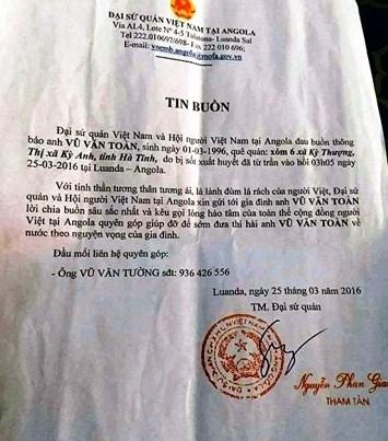 Một tháng có 5 lao động Hà Tĩnh bị bắn và sốt chết tại Angola