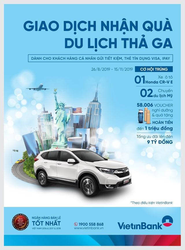 Trúng xe Honda CR-V cùng nghìn quà tặng từ VietinBank