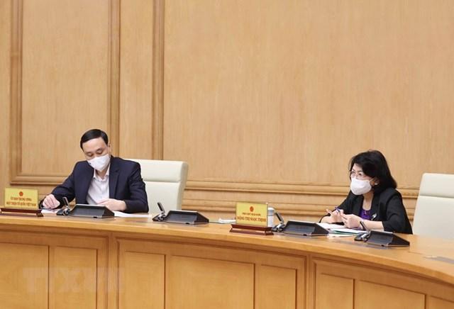 Phó Chủ tịch nước Đặng Thị Ngọc Thịnh và Phó Chủ tịch UBTƯ MTTQ Việt Nam Phùng Khánh Tài tham dự phiên họp. (Ảnh: Thống Nhất/TTXVN)
