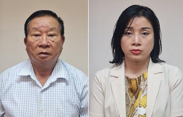 Hai bị can: Phạm Huy Lập; Phạm Thị Kim Oanh. Ảnh: CACC.