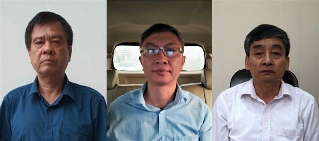 Các bị can Nguyễn Văn Kiên, Trịnh Mạnh Cường, Đinh Văn Hữu (từ trái qua). Ảnh: Bộ Công an.