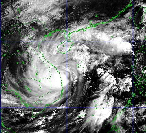 Ảnh chụp vệ tinh về cơn bão số 9. Ảnh: NCHMF.