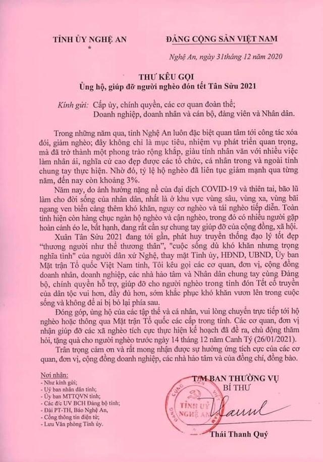 Thư kêu gọi của Bí thư Tỉnh ủy Nghệ An cho chương trình Tết vì người nghèo - Tân Sửu 2021