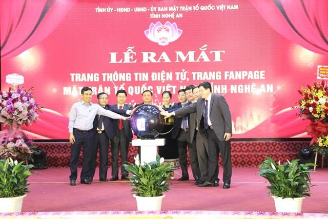 Lãnh đạo tỉnh Nghệ An, MTTQ tỉnh đã bấm nút ra mắt Trang TTĐT, Fanpage MTTQ Việt Nam tỉnh Nghệ An