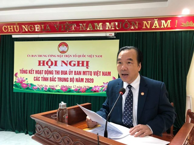 Ông Ngô Sách Thực, Phó Chủ tịch Ủy ban Trung ương MTTQ Việt Nam đánh giá cao công tác Mặt trận của cụm Bắc Trung bộ dù 6 tỉnh ở khu vực này vừa bị thiên tai, dịch bệnh hoành hành.