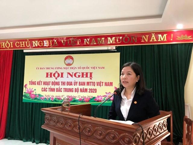 Bà Phạm Thị Thanh Thủy, Trưởng Ban Dân vận Tỉnh ủy, Chủ tịch Ủy ban MTTQ tỉnh Thanh Hóa đề xuất nhiều phương pháp sáng tạo trong công tác Mặt trận.
