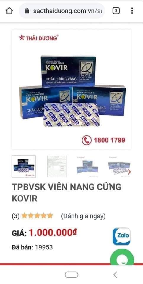 Giá bán sản phẩm Kovir đã được điều chỉnh tăng lên 1.000.000/ hộp