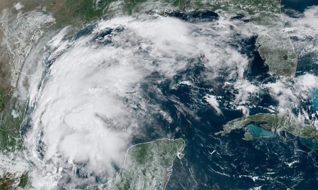 Bão Nicholas trên khu vực vịnh Mexico ngày 12/9. Ảnh:NOAA.