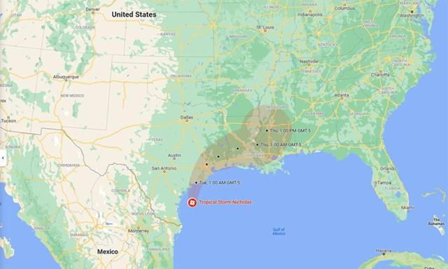 Dự báo hướng đi và vùng ảnh hưởng của bão Nicholas. Đồ họa:Google.