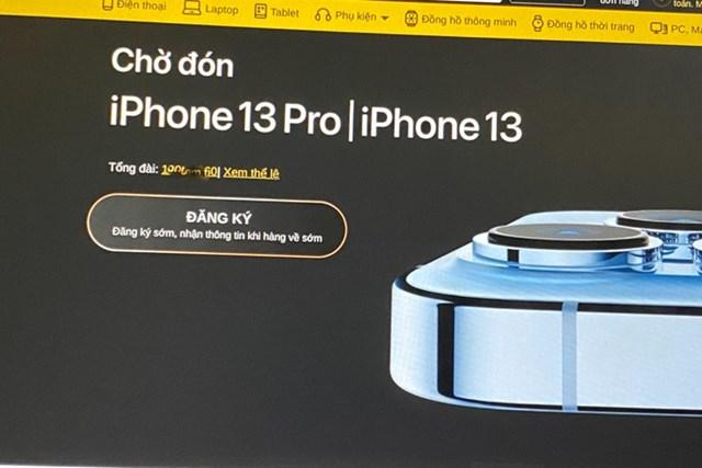 Trang web đặt cọc iPhone 13 của Thế giới di động đã chuyển sang trạng thái đăng ký nhận thông tin sản phẩm.