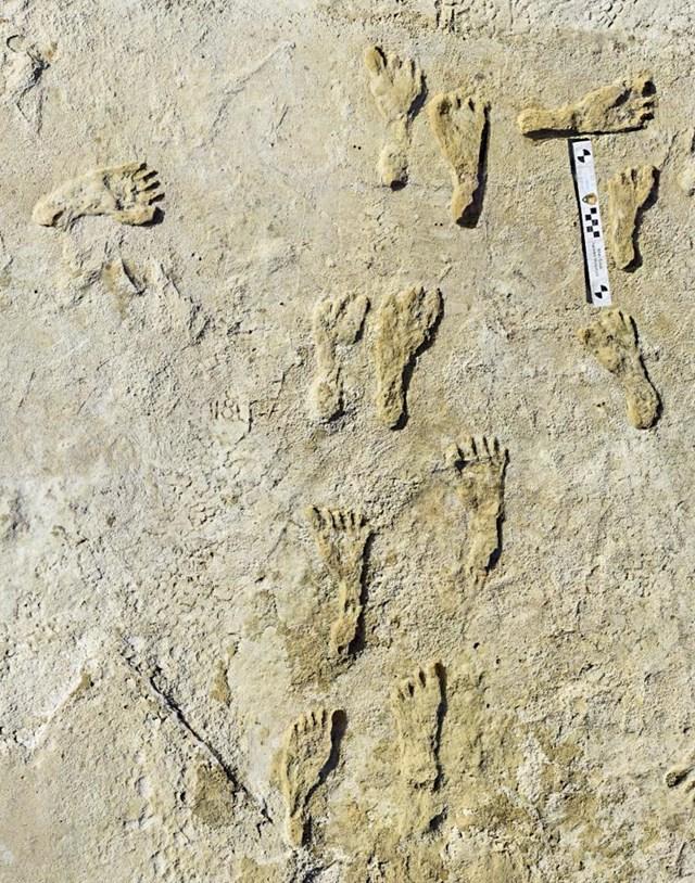 Các dấu chân hóa thạch của con người cổ đại được tìm thấy tại Công viên Quốc gia White Sands thuộc tiểu bang New Mexico, Mỹ. Ảnh AP.