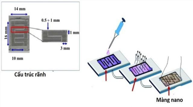 Cảm biến có kích thước milimet, sử dụng mang nano để hấp phụ khí amoniac. Ảnh:Nhóm nghiên cứu.