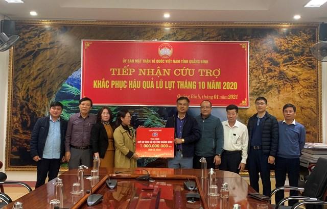 Tháng 1/2021, Tập đoàn cũng đã hỗ trợ an sinh xã hội tỉnh Quảng Bình 1 tỷ đồng.