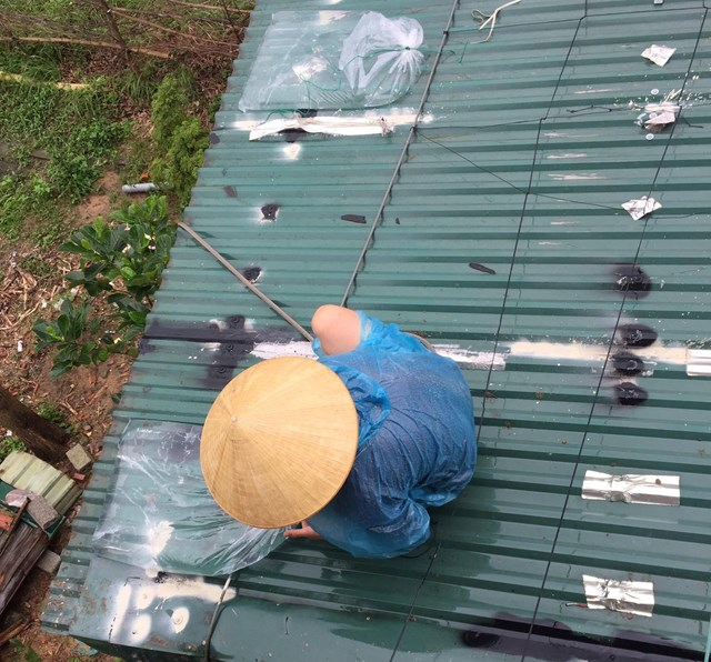 Anh Chu Tùng chằng chống hà cửa tránh bão.