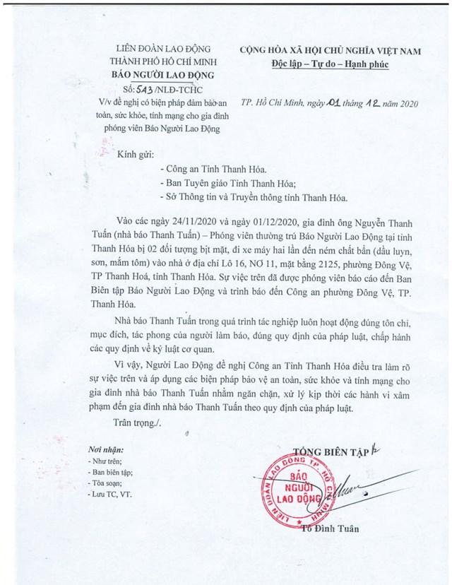 Cơ quan báo Người Lao Động đã có công văn gửi các cơ quan chức năng tỉnh Thanh Hóa đề nghị làm rõ vụ việc.