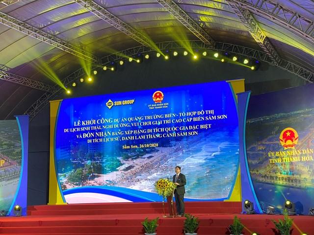 Đồng chí Mai Xuân Liêm - Tỉnh ủy viên, Phó Chủ tịch UBND tỉnh Thanh Hóa phát biểu tại sự kiện