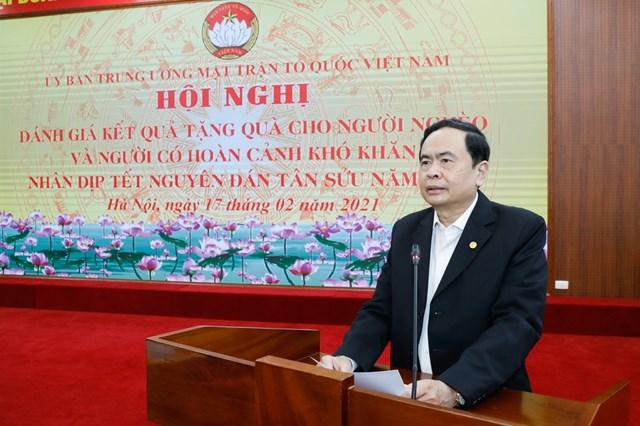Chủ tịch Trần Thanh Mẫn phát biểu tại Hội nghị. Ảnh Quang Vinh.