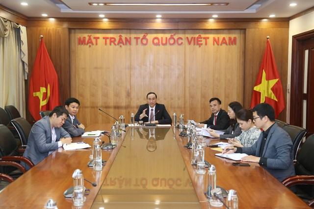 Các đại biểu tham dự Hội nghị trực tuyến tại điểm cầu UBTƯ MTTQ Việt Nam. Ảnh: Kỳ Anh.