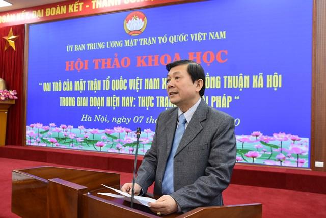 Phó Chủ tịch Nguyễn Hữu Dũng phát biểu tại hội thảo.