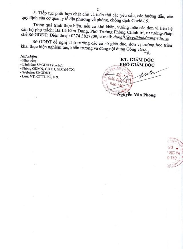 Công văn của Sở Giáo dục và Đào tạo tỉnh Bình Dương cho học sinh, viên viên nghỉ học để phòng, chống dịch Covid-19.