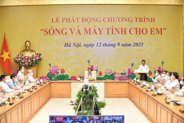 Thủ tướng Chính phủ Phạm Minh Chính và các đại biểu dự Lễ phát động tại điểm cầu Văn phòng Chính phủ.
